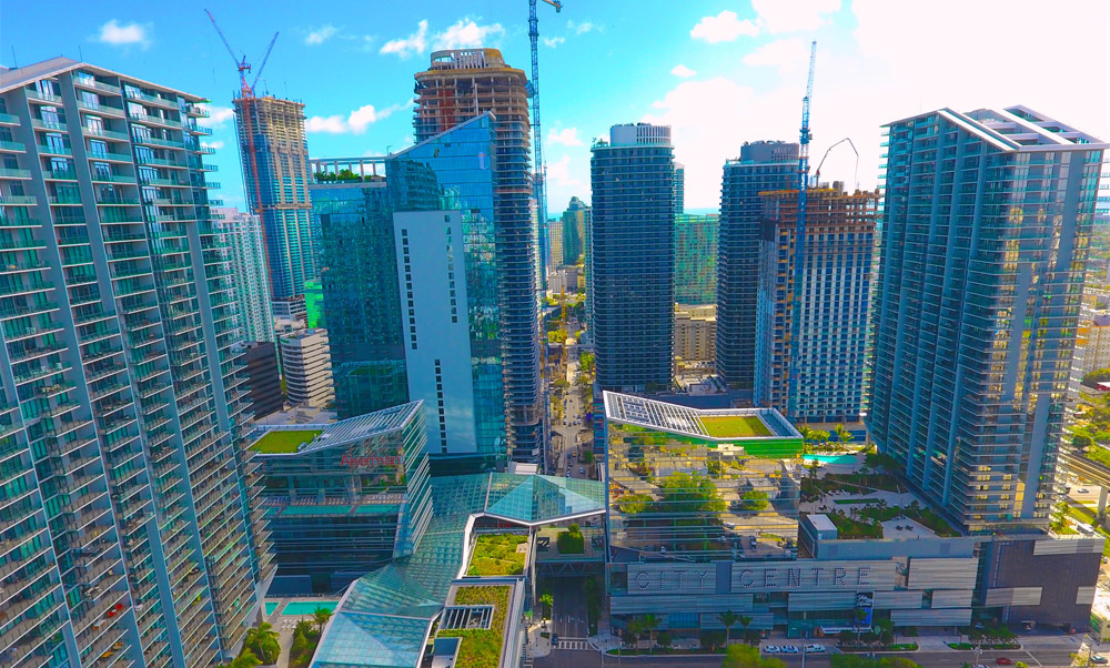 Aerial photography Miami high-rise buildings