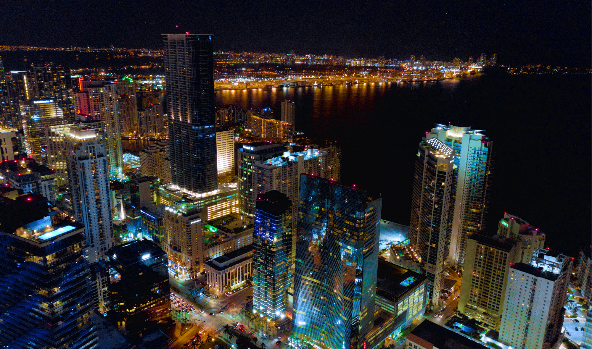 Aerial photography Miami at night